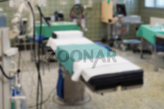 defocused operating room in a hospital