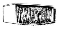 Bent bookshelf. Black and white illustration.