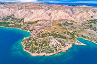 Stara Baska. Aerial panoramic view of Stara Baska village and stone desert landscape of Krk island