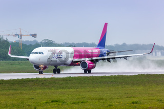 Wizzair Airbus A321 airplane Gdansk airport