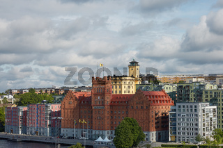 View of Elite Hotel Marina Tower near city center of the Swedish capital with dramatic sky in the background
