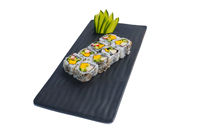 Sushi roll with prawn, mango, cucumber. California Sushi.