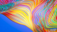 Colorful Curved Lines On Graduated Blue - Purple Background