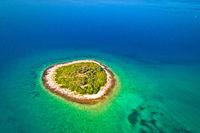 Lonely stone island in Zadar archipelago aerial view