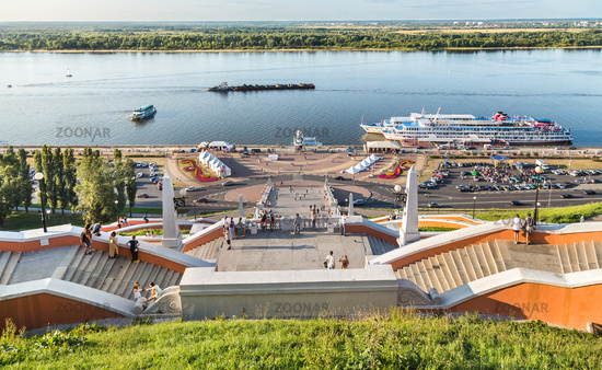 Chkalov staircase and the Volga river, Nizhny Novgorod, Russia