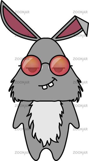 Cute rabbit in hipster sunglasses . Animal cartoon vector illustrtation