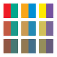 Six basic primary colors, complementary colors and their shades.