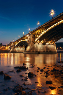 Margaret bridge at dusk in Budapest