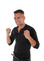 Young man making fist's, I got it