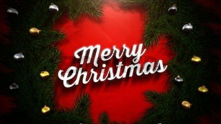 Merry Christmas text, colorful garland and Christmas green tree branches