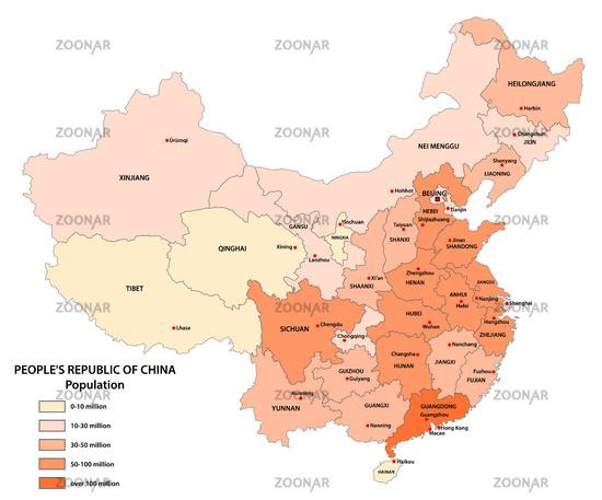 Vektor-Bevölkerungskarte der Volksrepublik China