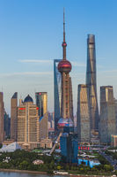 Shanghai, China - May 23, 2018: Sunset view of the modern Pudong skyline in Shanghai, China