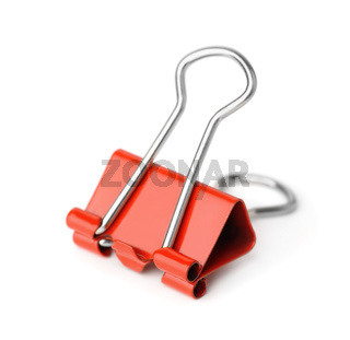 Red metal binder clip