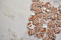 Assortment of fresh gingerbread Christmas cookies in various shapes