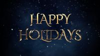 Happy Holidays text, white snowflakes on blue background
