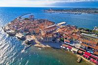 Town of Umag historic coastline architecture aerial view