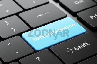 Law concept: Jurisprudence on computer keyboard background