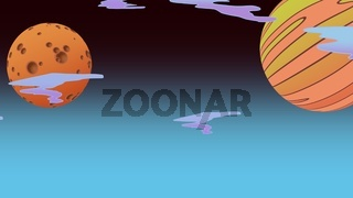 Cartoon background with moon and planet in space, abstract backdrop