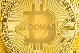 The shining golden bitcoin.