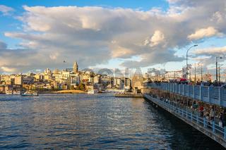 View of Galata Bridge and Galata Tower in Istanbul, Turkey