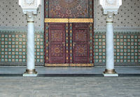 Close Up Of Arabic Decorations, Architectural Detail At The Front Door In Mosque