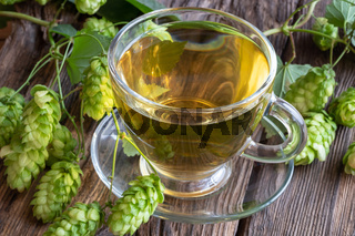 A cup of tea with wild hops on a table