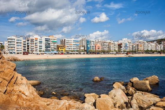 Blanes Sea Bay And Town Skyline On Costa Brava