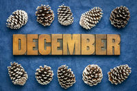 December month word in wood type
