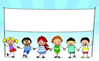 kids holding white banner with copy space - illustration