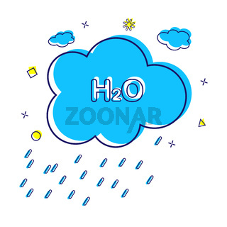Environment and ecology. Cloud with water formula and rain.