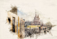 Watercolor Ubahn Trains