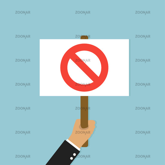 Hand holding placard. Illustration protest with no sign banner or board on blue background. Social negative emotion.