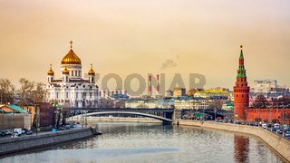 Cityscape with beautiful Cathedral of Christ the Saviour and Kremlin Vodovzvodnaya Tower, Moscow
