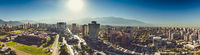 Panoramic view of Santiago de Chile with the Andes mountain range at the back