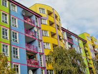 Bunte plattenbauten in berlin westend, germany