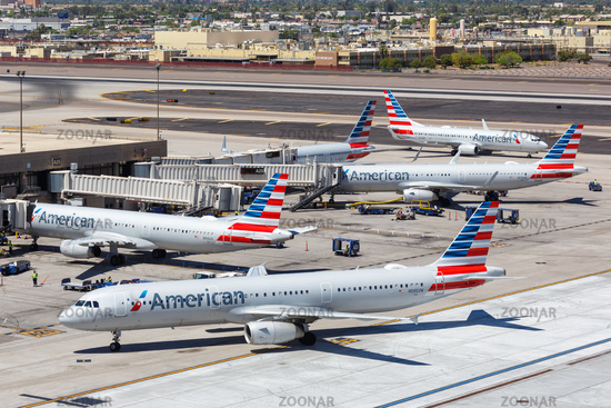 American Airlines Airbus A321 airplanes Phoenix airport