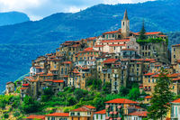 View of Apricale in the Province of Imperia, Liguria, Italy