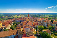 Istria. Town of Brtonigla on green istrian hill aerial view