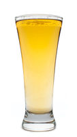 Beer glass on white background, vertical shot