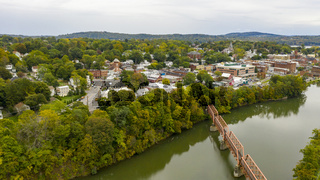 Pedestrian Bridge over Catskill Creek Aerial View New York Town