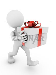 man with big gift box