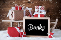 Sleigh, Gift, Snow, Snowflakes, Danke Means Thank You