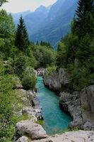 Slowenien, am Fluss Soča im Nationalpark Triglav