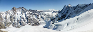 rock and ice mountain panorama landscape in the Swiss Alps near Grindelwald