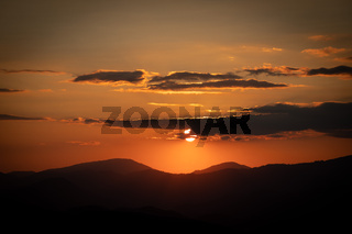 Sunset in the Mountains in lower Austria