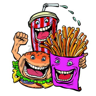 Burger Cola drink fries potatoes. fast food characters friends lunch