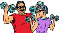 Grandparents do sports, fitness dumbbells