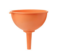 Front view of orange plastic funnel