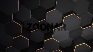 Dark black hex grid background, abstract background