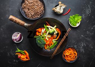 Ingredients for making stir-fried noodles